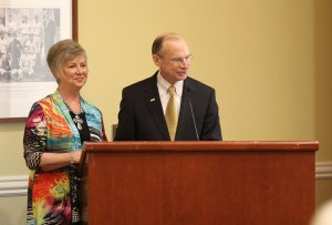Dr. David Rankin is joined by his wife, Toni, as he announces his upcoming retirement on May 1.
