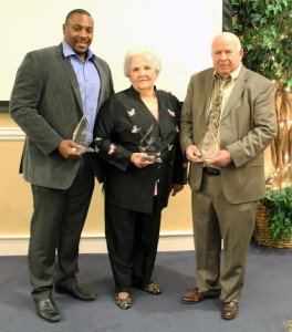The award recipients, left to right, were Nik Lewis, Distinguished Young Alumnus; Dr. Ann Thomas, Lifetime Achievement; and Dr. Lathan Barnard Daniels, Distinguished Golden Rider Alumnus.