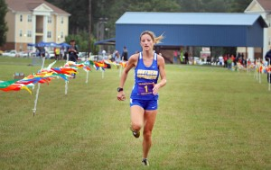 Carli Lanley breaks the SAU 5K record (17:44) as she finishes more than 30-seconds ahead of her next competitor at the Lois Davis Invitational on September 12.