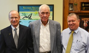 SAU President Dr. David Rankin, Ted Monroe, Sr., and People's Bank Professor of Finance Dr. David Ashby pose for a photo after a meeting to discuss the farm land.